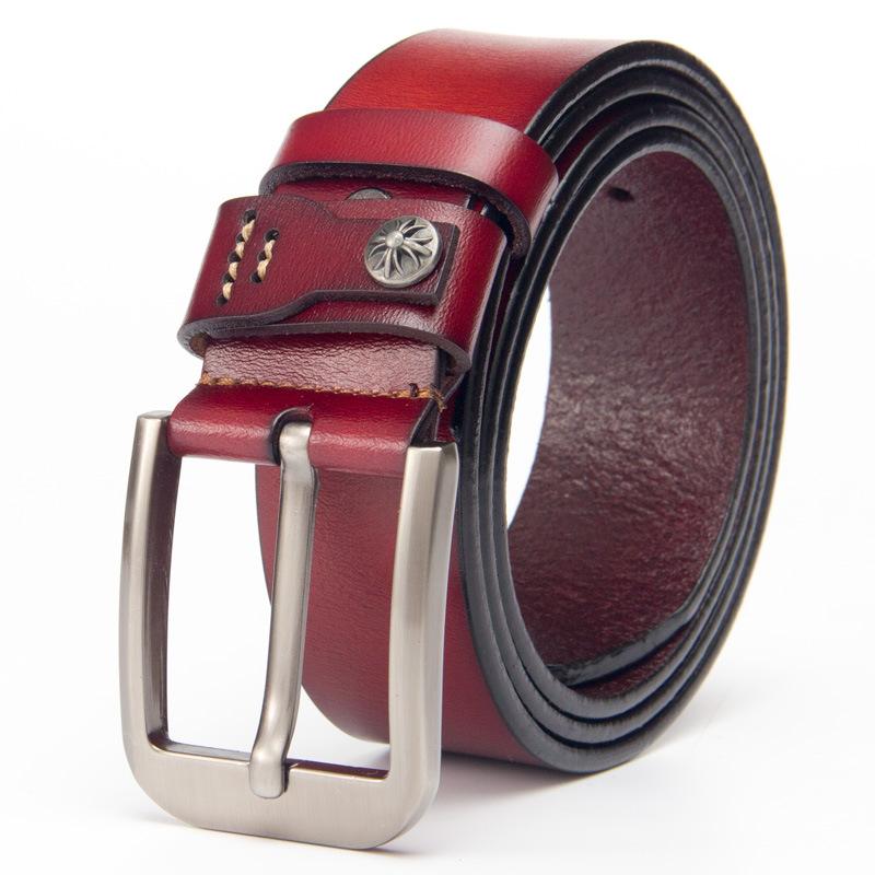 Leopard head cowhide board buckle casual smooth buckle genuine leather men's belt