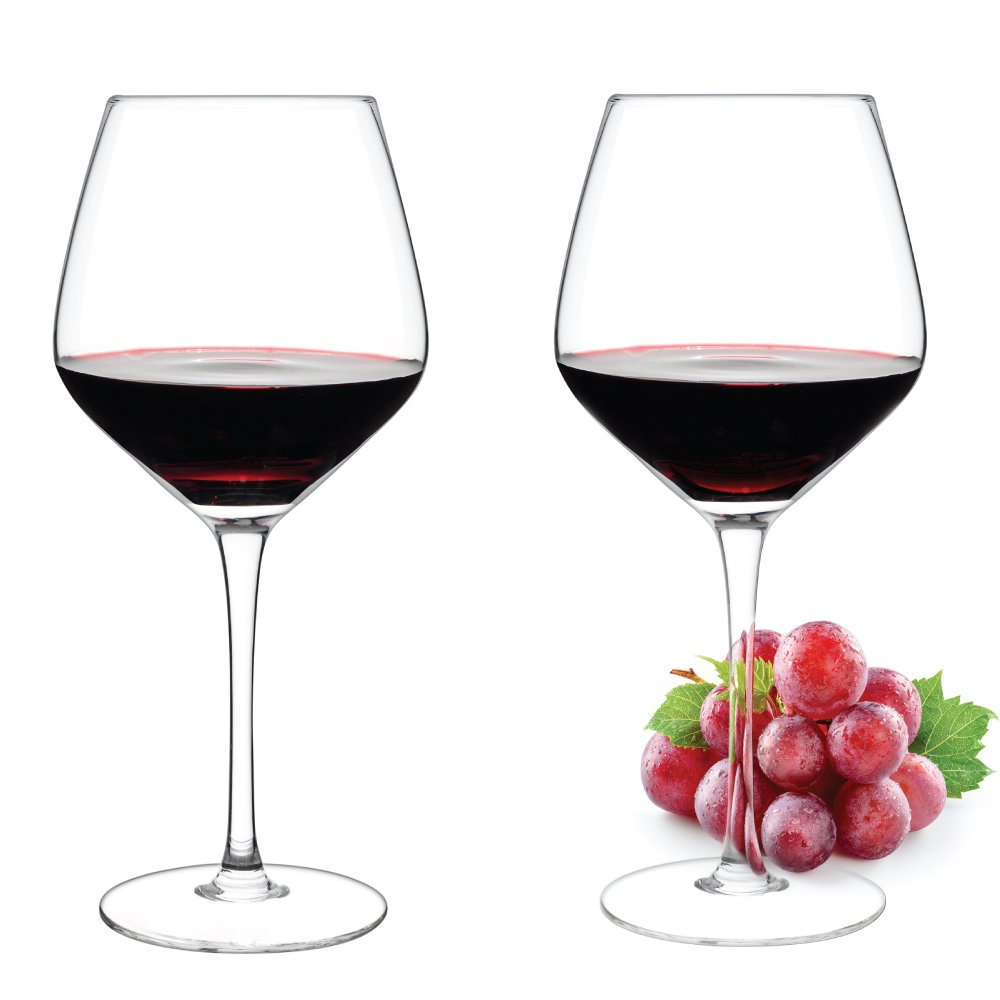Luxbe - Crystal Wine Glasses, Set of 2 - Large Handcrafted Red or White Wine Glass - 100% Lead Free Crystal Clear Glass - Professional Wine Tasting - Burgundy - Pinot Noir - Bordeaux - 21-ounce