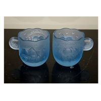 Little Twin Stars Frosted Blue Glass Cup Mini Mug Printed and Frosted Promotional Glass Mug for gift