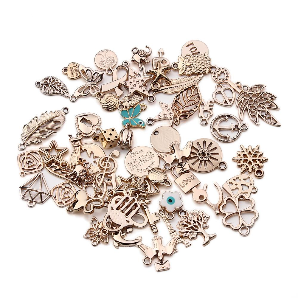 Mixed 36 designs jewelry findings bracelet women charm metal kc gold wire bangle bracelet charms pendant for jewelry making фото