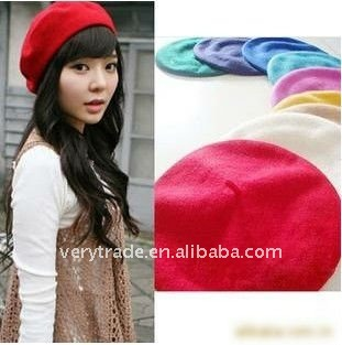 FASHION WOMEN WOOL RED BERET NEWSBOY HAT CAP WITH TAIL