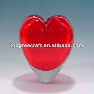 Wholesale Folk Art Heart Shaped Murano Red Clear Glass Vases