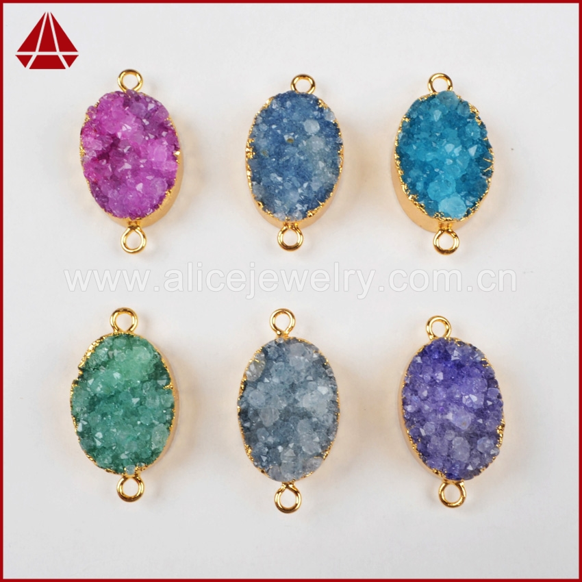 Hot sale round oval quartz crystal pendant connector with silver and gold frame