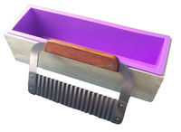 Homemade rectangle 1.2kg Soap Rectangular soap cutter and mold with Wood Box and Wavy Stainless Steel Soap Cutter Slicer