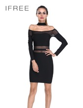 2016 Hot Lace Design Sexy Ladies Black Longsleeve Bandage Party Dress Photos Image