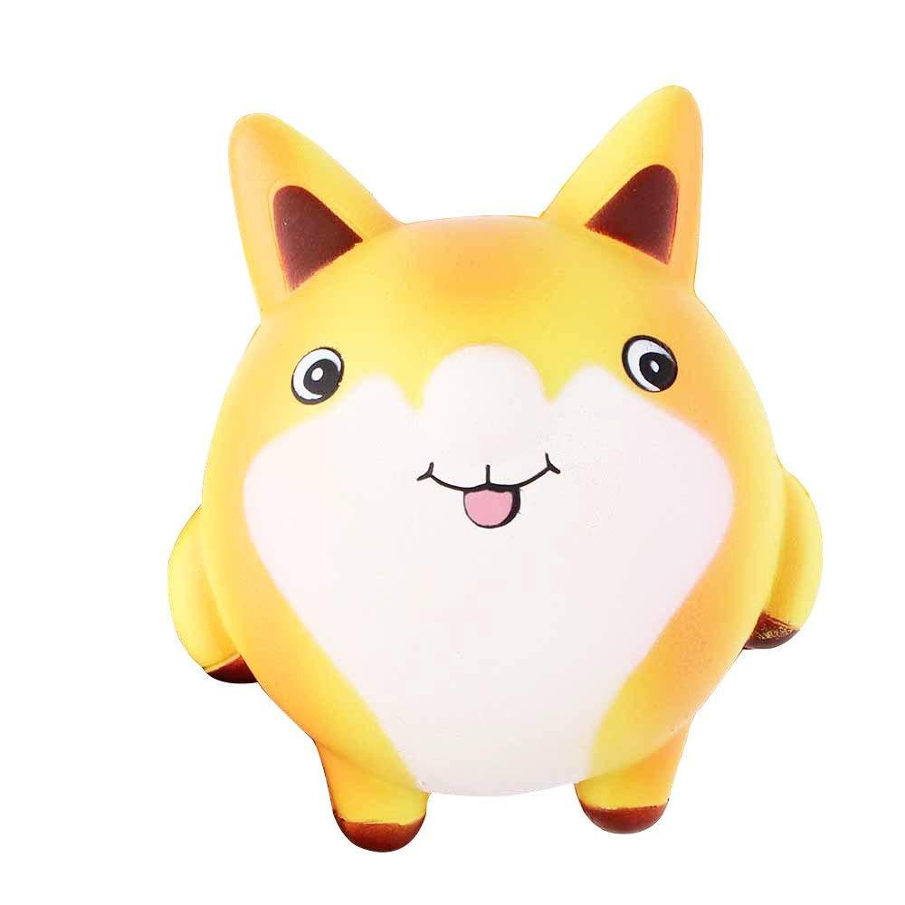 Eleventen Fox Squishies Slow Rising Squishies Lovely Cream Scented Jumbo Squishies Slow Rising Collection Slow Squishies Toys 13×11.5×7cm (Yellow)