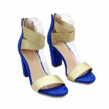 66e10c1322e Newest Open Toe Gold Rubber Women Elastic Block Heel Sandals ...
