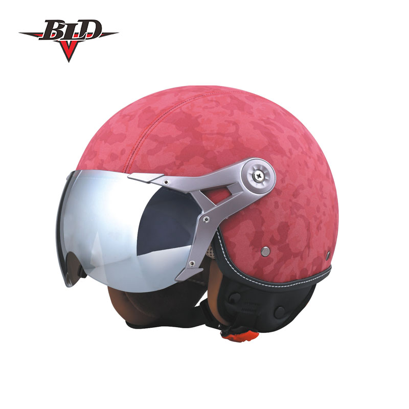 3/4 Open Face DOT Leather Moped Helmet