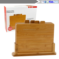 Bamboo Index Cutting Boards- All Natural Chopping Board with 4 Index Tabs by Good Cooking