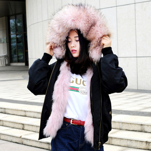 CX-G-P-19E Fox Fur Lining Jacket Women Fur Parka Coat