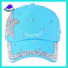 Studded Cap Women Caps Factory Price Promotional Women Rhinestone Studded Sports Hat Blue Bling Baseball Cap
