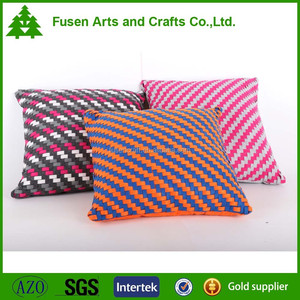 Handwoven technique and 100%polyester material cushions home decor pillow