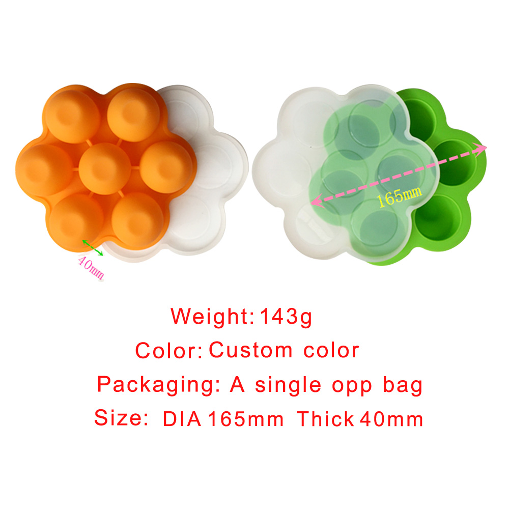 Hot Selling 7 Cavity Silicone Egg Bites Mold with Lid for Baby Food Freezer Tray