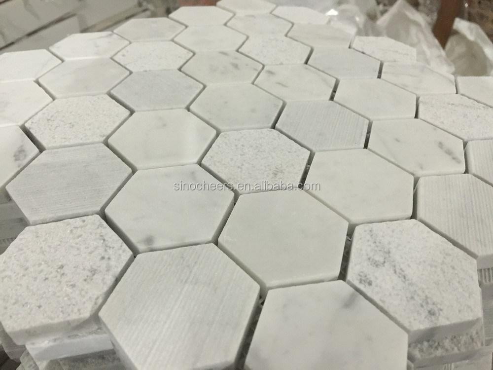 Hoge kwaliteit hexagon carrara wit marmer mozaïek hexagon patroon ...