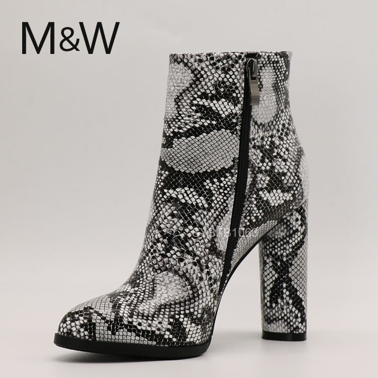 Ladies high quality snake skin custom ankle high heel boots