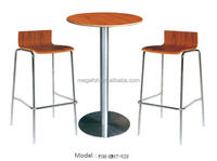 Simple Bar Stool and Round Wooden Bar Table (FOH-XM67-528)