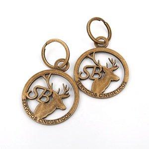 Stylish Design Custom Made Casting Shape Deer Animal Brand Logo Carved Metal Keychains for Promotional Gifts