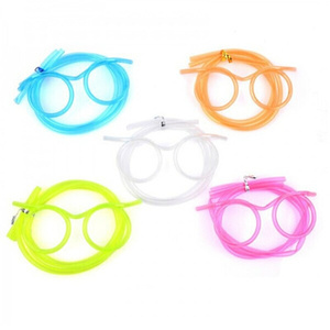 art transparent cartoon crazy Glasses Plastic Drinking Straw for Children(free sample)