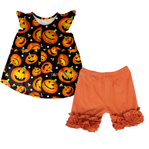 Wholesale kids Halloween Pumpkin clothing girls short sleeve boutique outfits