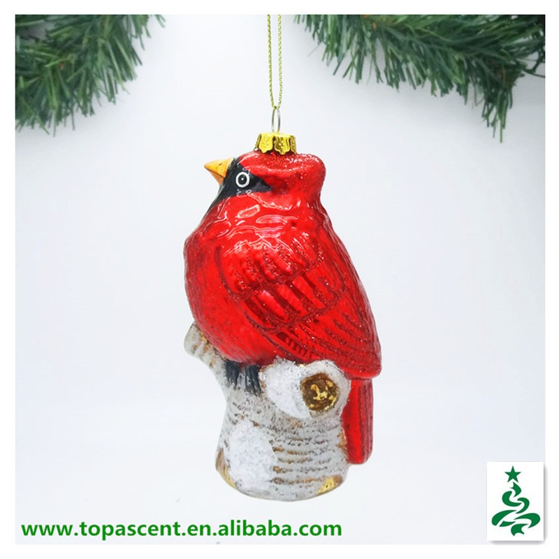vivid hand blown glass christmas hanging cardinal bird on white birch orna.