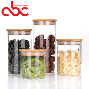 OEM / ODM Factory Direct Sale Heat Resistant Borosilicate Glass Food Jar With Bamboo Lid 500ml 800ml 1000ml 1300ml