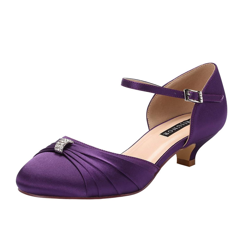 7a92890e4cbdd Get Quotations · ERIJUNOR Women Comfort Low Kitten Heel Buckle Ankle Strap  Dyeable Satin Bridal Wedding Shoes