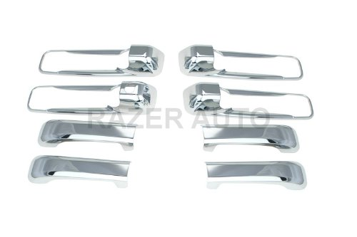 Razer Auto 2005-2011 JEEP COMMANDER / 2005-2010 JEEP GRAND CHEROKEE / 2009 - 2016 DODGE RAM 1500, 2010 - 2016 DODGE RAM 2500,3500 CHROME DOOR HANDLE COVER 4D W/O PASSENGER KEYHOLE
