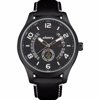 INFANTRY Pilot Aviation Black Dial Leather Strap Fashion Date Men Watch