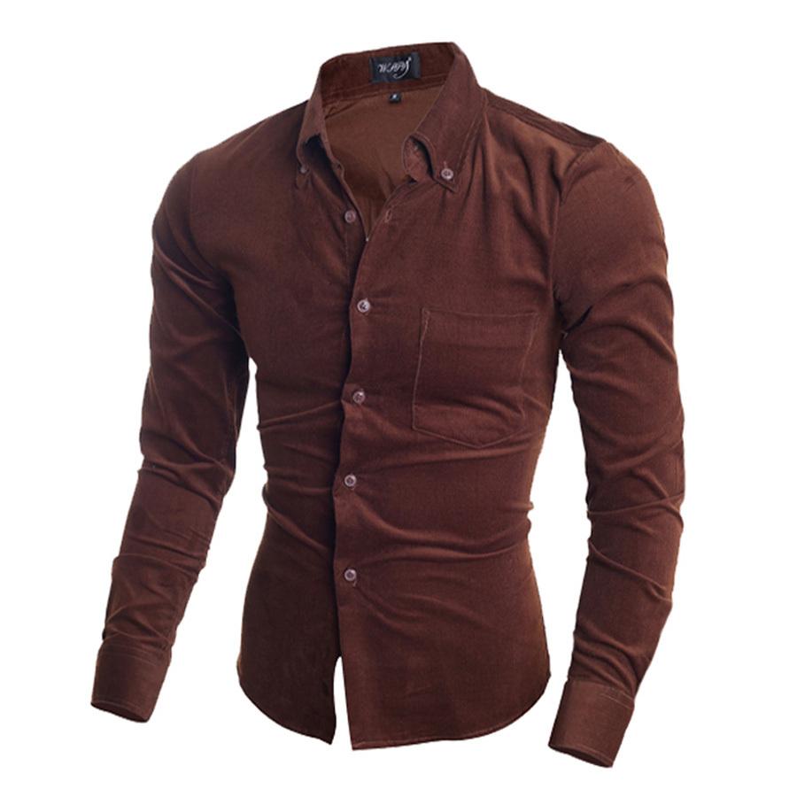 Shirt new design 2015 - Get Quotations 2015 Brand New Design Men Shirt High Quality Corduroy Casual Shirt Men Slim Fit Stylish Business