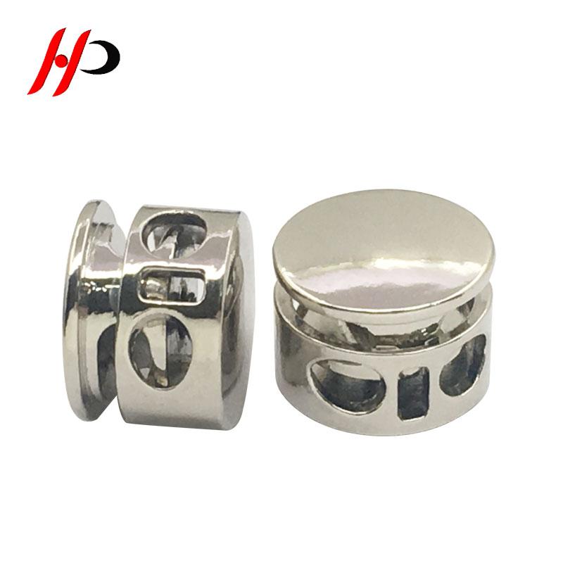 Hps005 Custom Silverdrawstring Elastic Rope End Spring Lock Metal