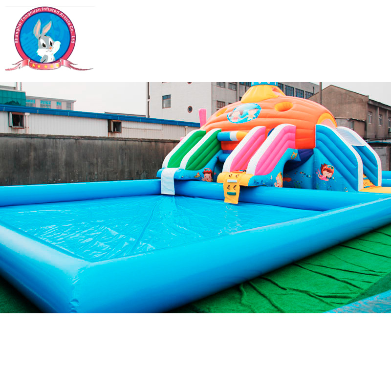 Best price summer water park slide city with inflatable pool for adult