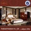 0063 Luxury golden hand-carved solid wood bedroom furniture