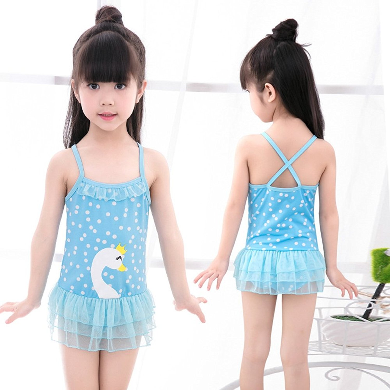 bf117d2fddf52 Get Quotations · BERTERI One-Piece Cute Swan Lace Swimsuits Bathing Suits  Bikini Swimwear for Baby Girls/
