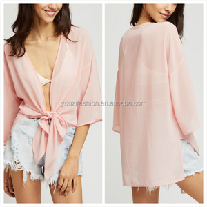 Fashion bow tie blouse with front drop shoulder kimono blouses 2016 new designs famous neck blouse design
