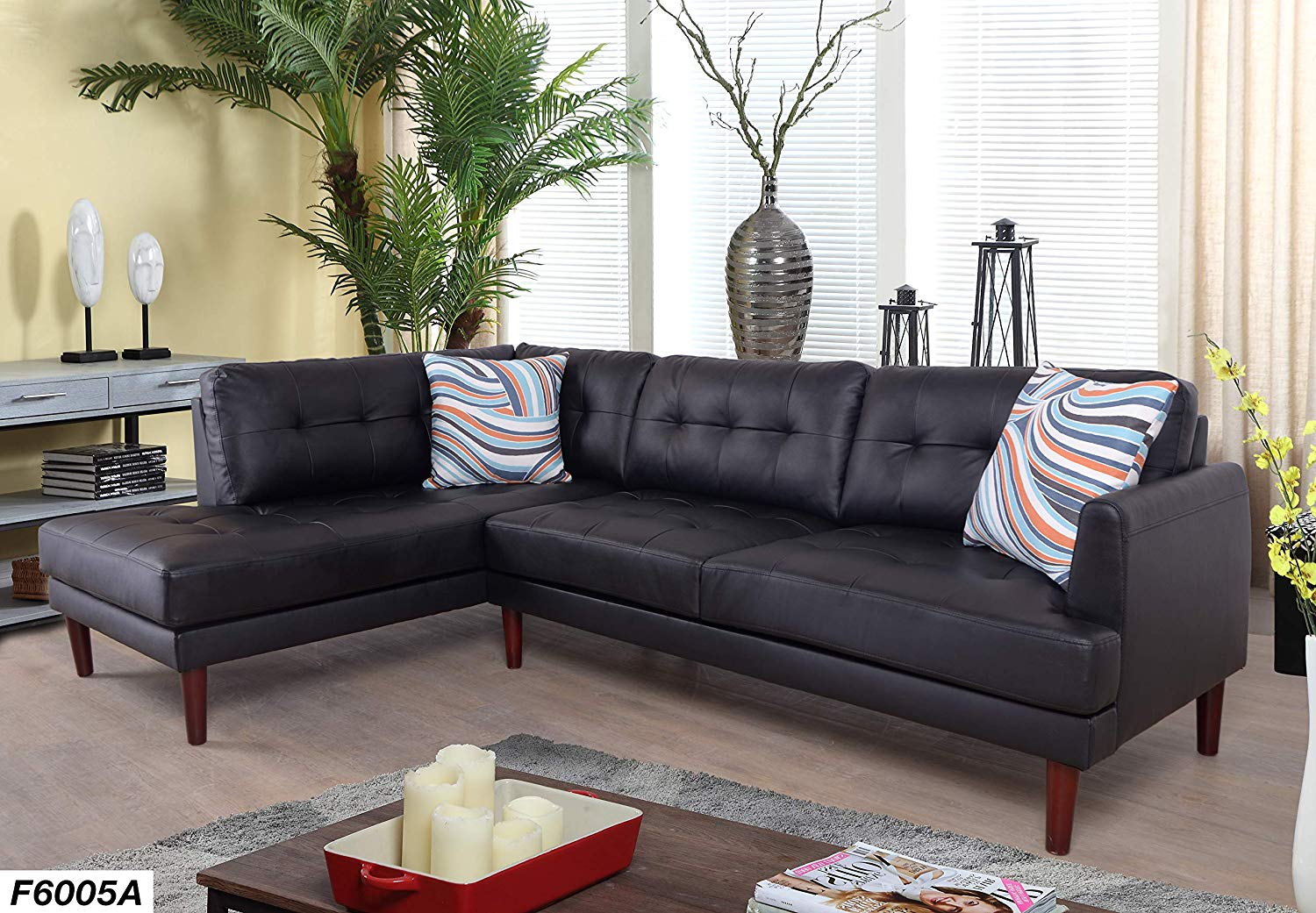 Lifestyle Furniture Jasper Left Facing Faux Leather Sectional Sofa,Black(LS6005A)