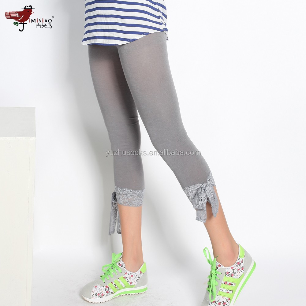 wholesale cotton spandex tights leggings with lace bow