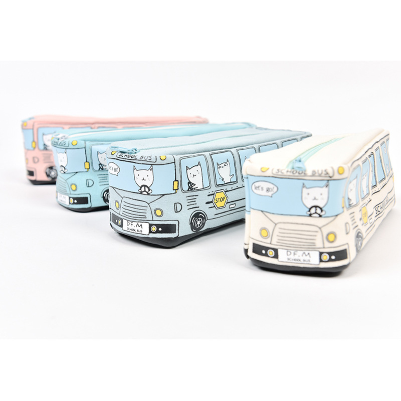 Wholesale Stock Small Order Cartoon Bus Pencil Bags