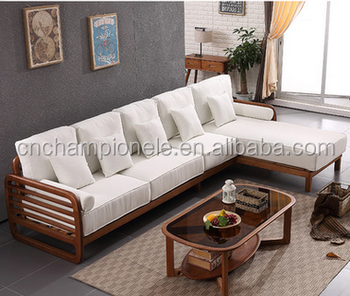 2017 New Style Unique Design Solid Wood 3 Seater Wooden Sofa With Corner Chaise Lounge