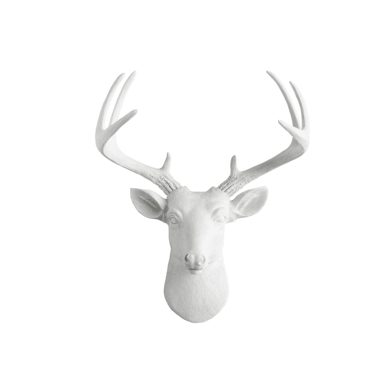 Wall Charmers Mini Deer by White Faux Head Mount Bust Fake Animal Resin Taxidermy Sculpture Stag Buck Antler Fauxidermy Mounted Replica Decor Art