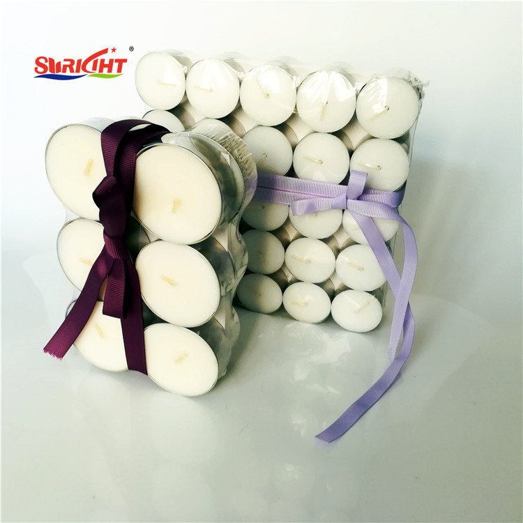 White Unscented Simple Powder Pressed Tealight Candles Set