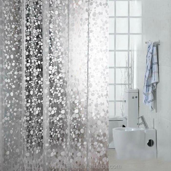 100PEVA EVA 3D Cobblestone Shower Curtain Liner Transparent