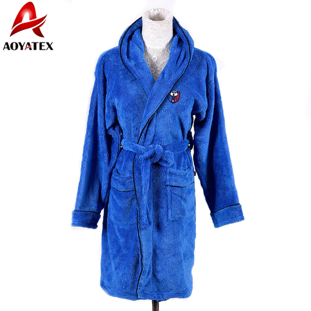 6dc9aef76b Hot sale cheap fancy solid coral fleece hooded kids bathrobe with satin  piping children s robe