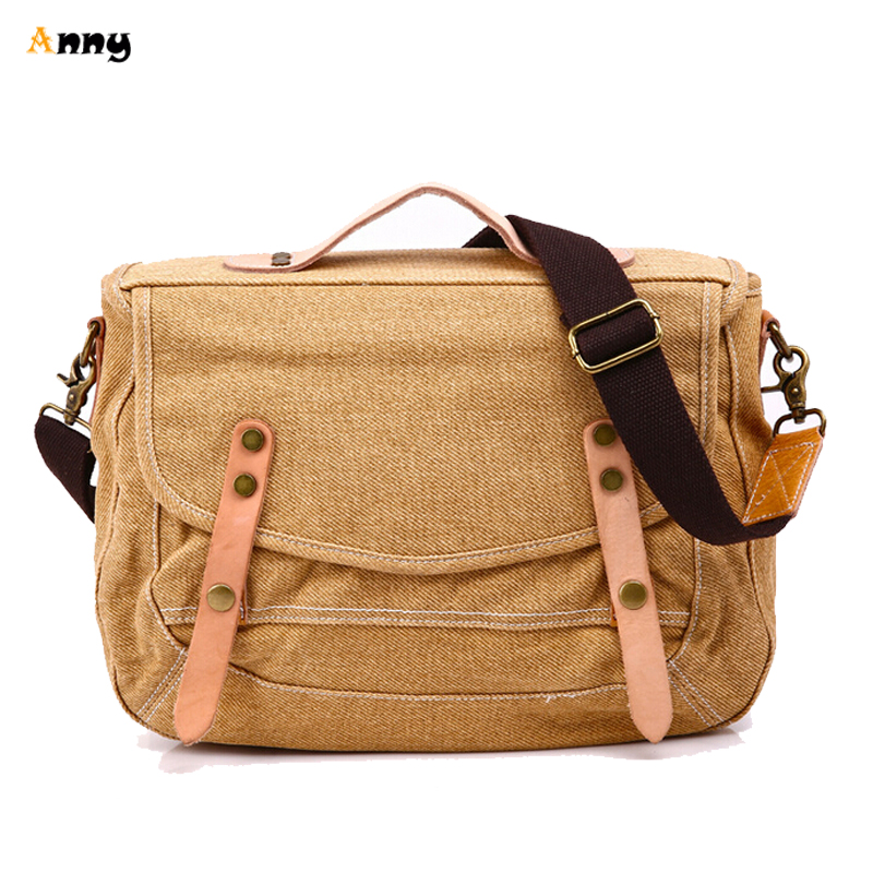 701f985fa205 Get Quotations · ANNY Vintage Men Messenger Bag 2015 New Designer Military  Tactical Canvas Leather Crossbody Bag Rivet Simple