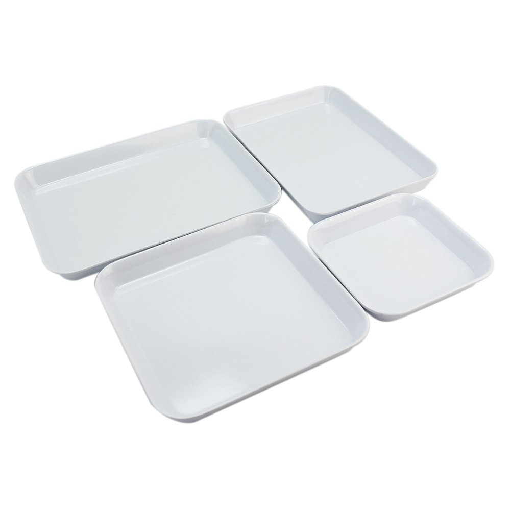 4x White Plastic Display Sample Jewelry Organizer Travel Stackable Trays