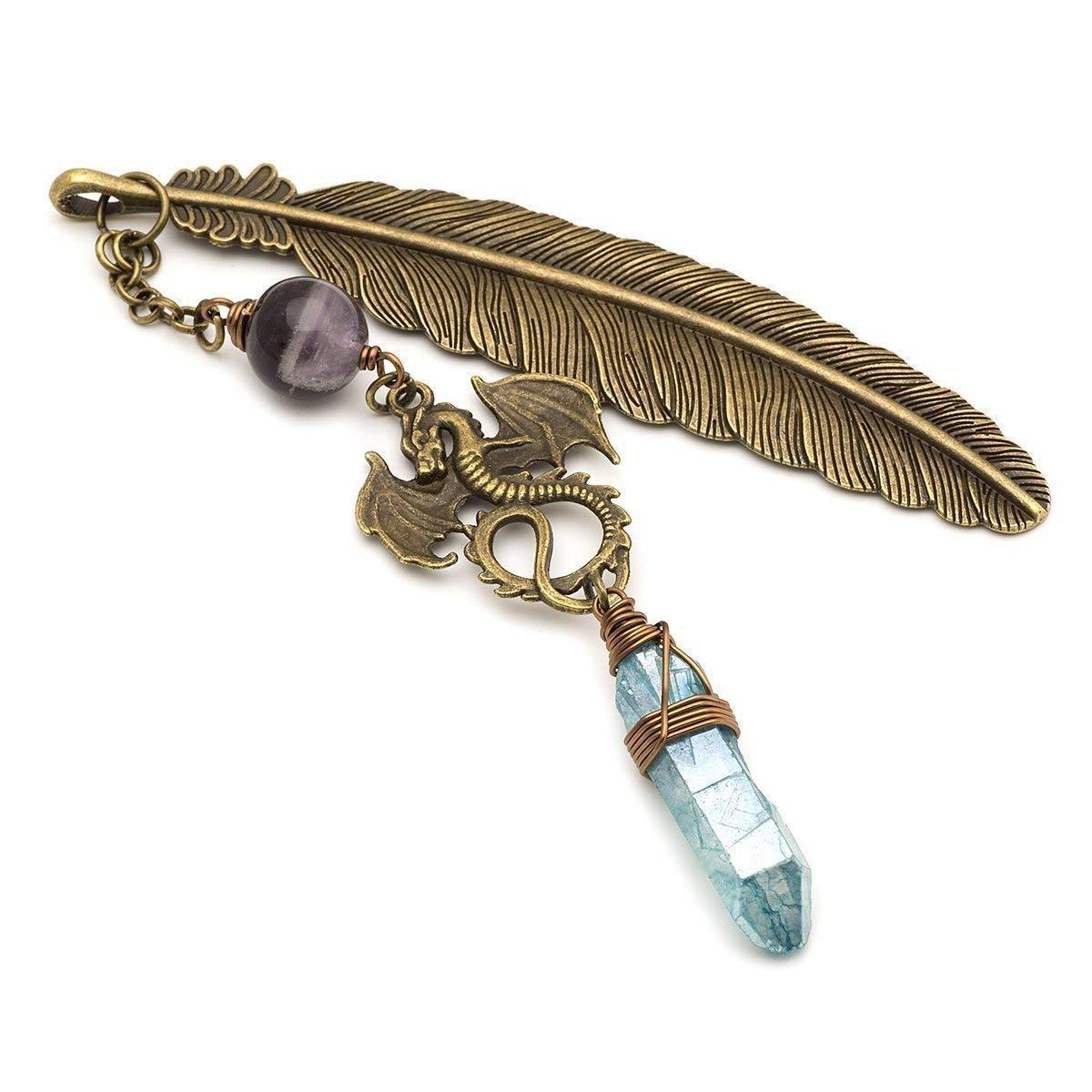 Aura quartz amethyst gemstone point dragon and feather bronze metal unique bookmark gift