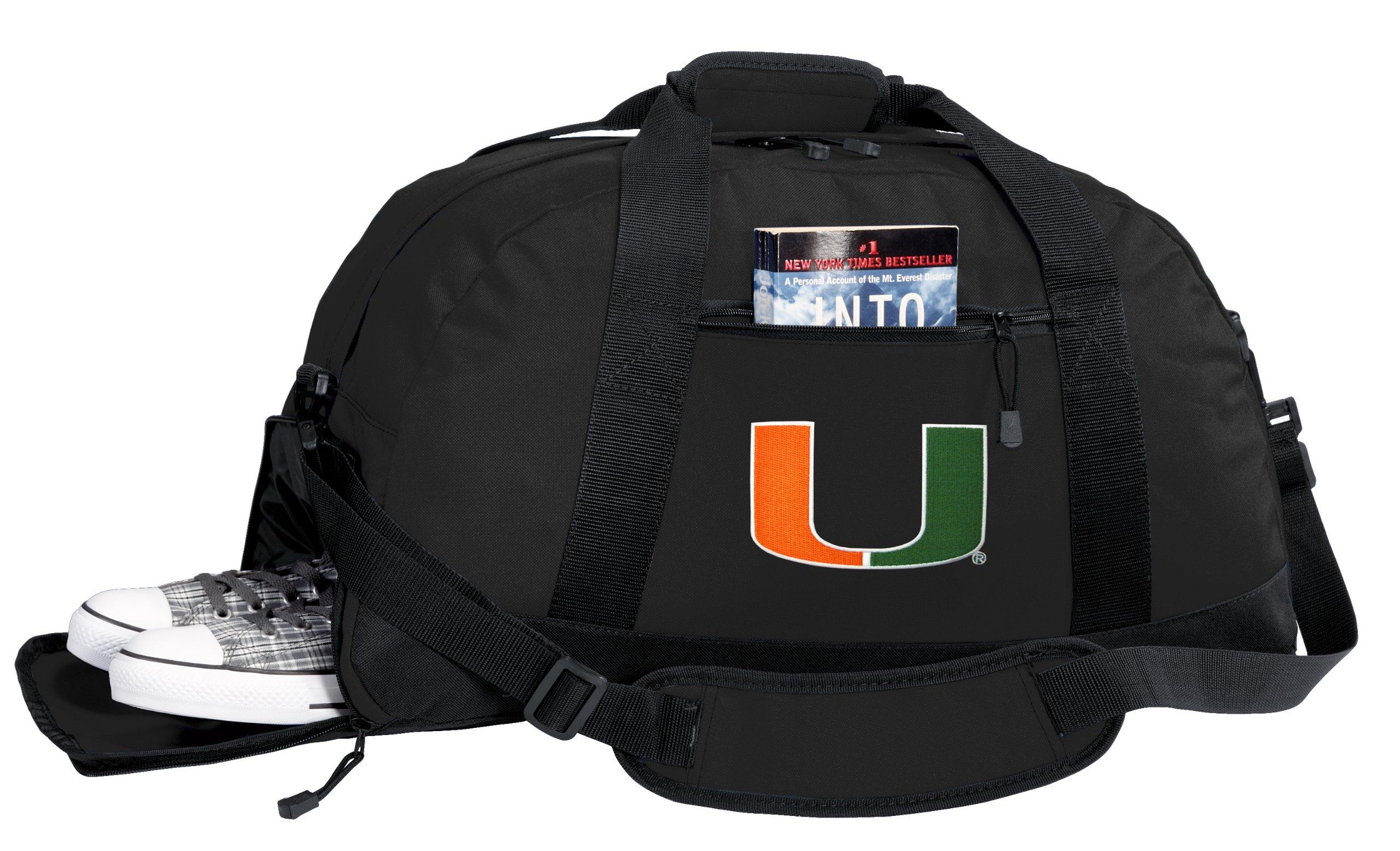 NCAA University of Miami Duffel Bag - Miami Canes Gym Bags w/ SHOE POCKET