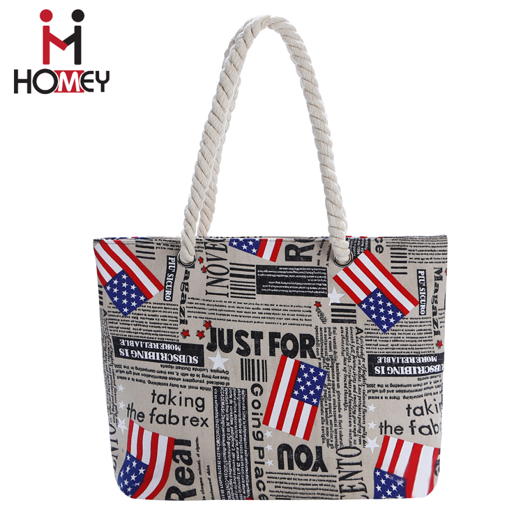 Custom Nylon Canvas American Flag Shoulder Bag Zippered Handbags