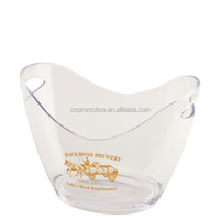 4 L clear boat-shape clear plastic Champagne Ice Buckets & Wine Cooler can printing customer logo