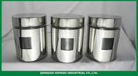 SUGAR COFFEE STAINLESS STEEL COATED WHOLESALE AIRTIGHT GLASS CANISTER