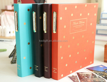 hot sale handmade product leather cover book bound 4x6 photo album 60 photos